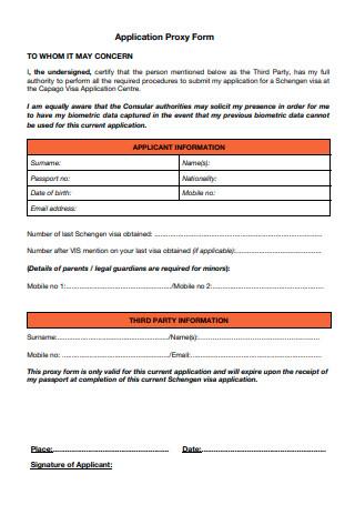 Application Proxy Form