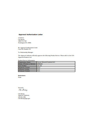 Approval Authorization Letter