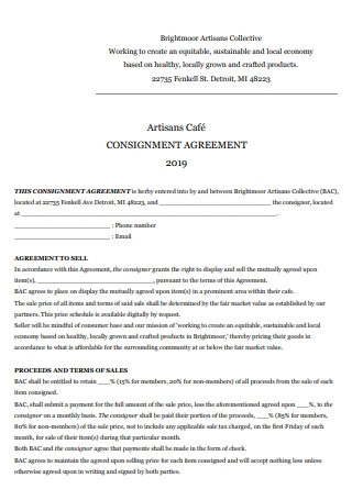 Artisans Cafe Consignment Agreement