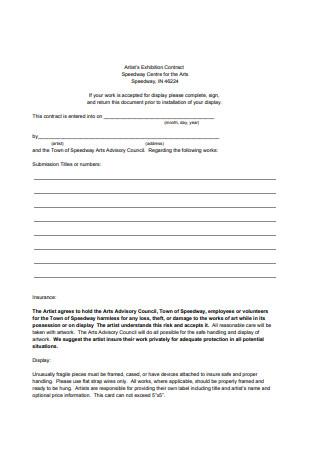 Artist's Exhibition Contract