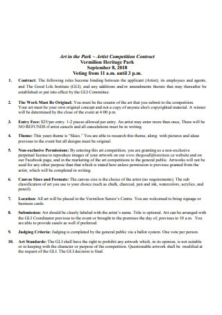 Artist Competition Contract