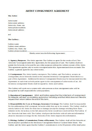 Artist Consignment Agreement
