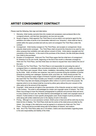 Artist Consignment Contract1