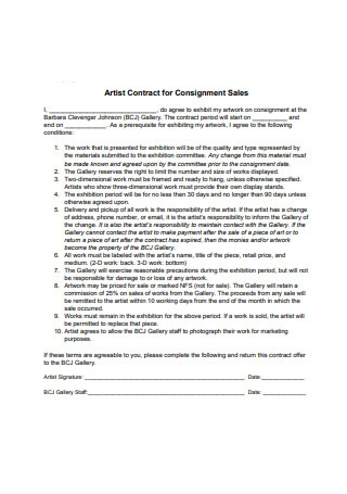 Artist Contract for Consignment Sales