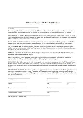 Artist Gallery Contract Example