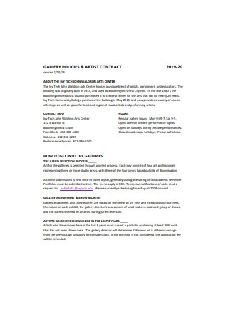 Artist Gallery Contract Sample