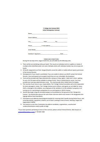 Artist Participation Contract Sample