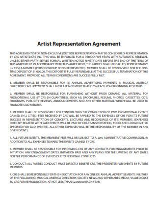Artist Representation Agreement Sample