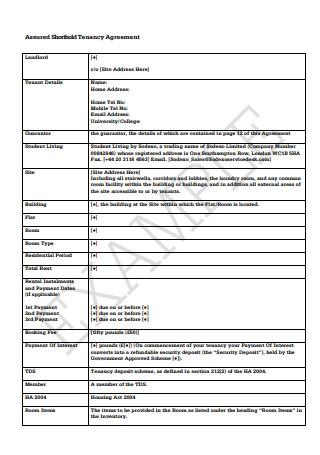 Assured Shorthold Tenancy Agreement Format