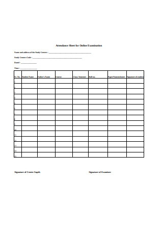 Attendance Sheet for Online Examination