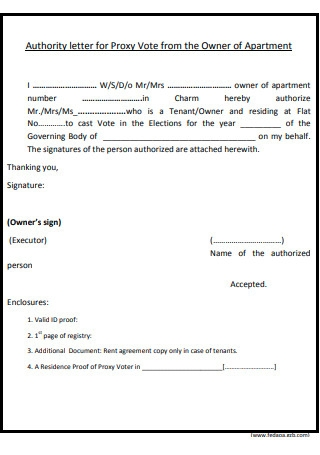 Authority Letter for Proxy Vote