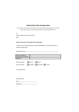 Authorization Letter by Organization