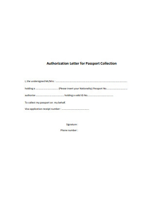 Authorization Letter for Passport Collection