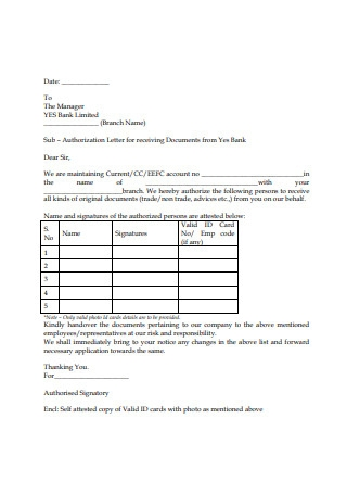 Authorization Letter for receiving Documents