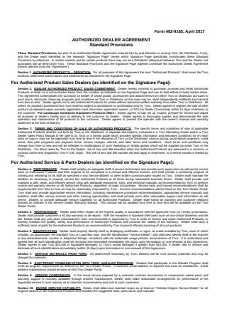 Authorized Dealer Agreement Sample