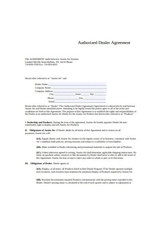 Authorized Dealer Agreement