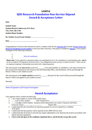 Award and Acceptance Letter