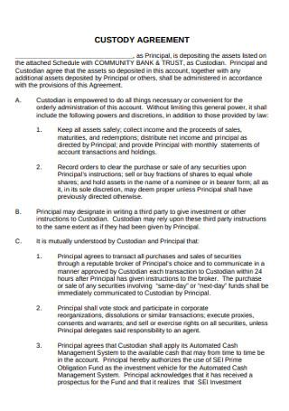 Bank Custody Agreement