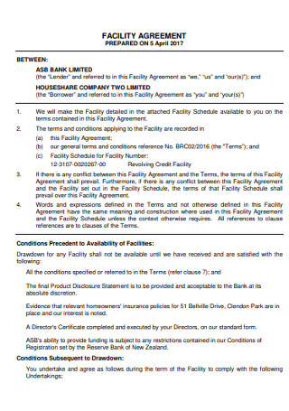 Bank Facility Agreement