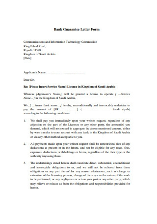 Bank Guarantee Letter Form