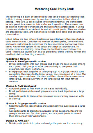 Bank Mentoring Case Study