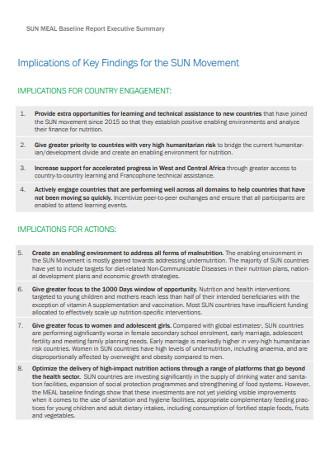 Baseline Report Executive Summary