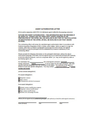Basic Agent Authorization Letter Template