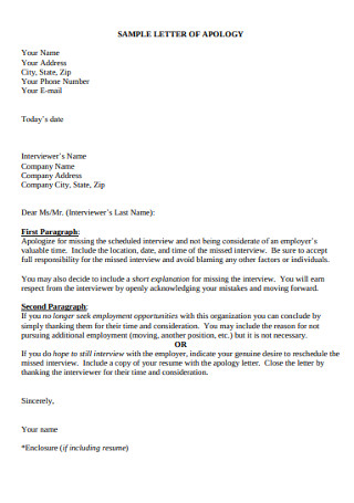 Basic Apology Letter