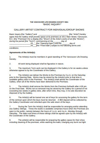 Basic Artist Contract Example