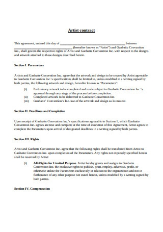 Basic Artist contract Format1