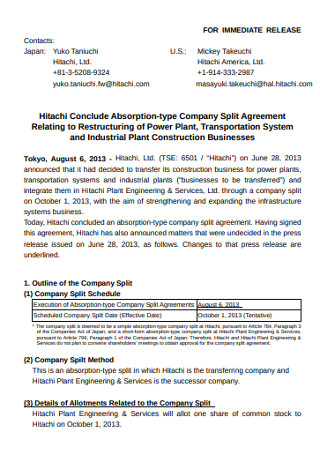 Basic Company Split Agreement