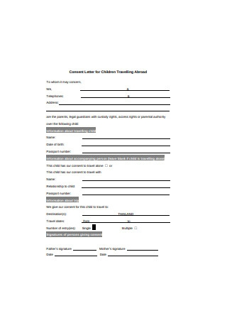 Basic Consent Letter for Children Travelling Abroad