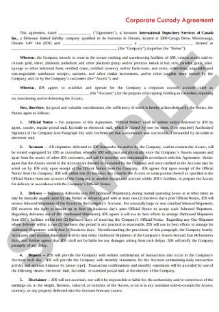 Basic Corporate Custody Agreement