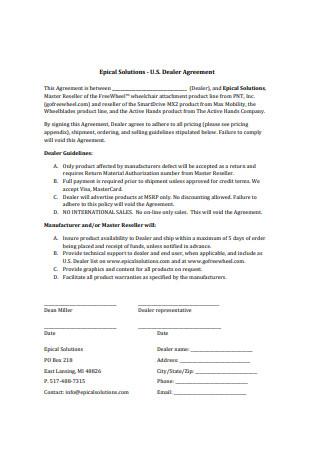 Basic Dealer Agreement Format