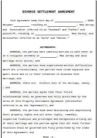 Basic Divorce Settlement Agreement