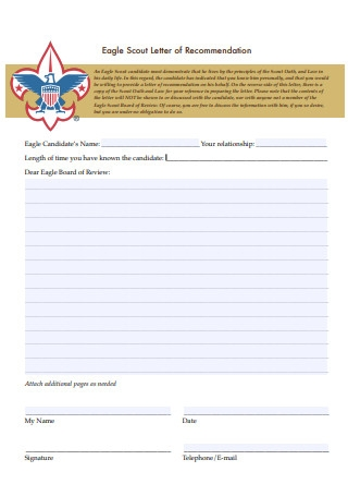 Basic Eagle Scout Letter of Recommendation