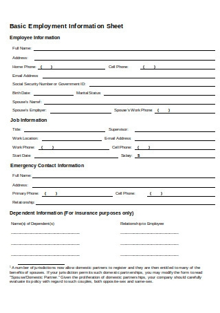 Basic Employment Information Sheet