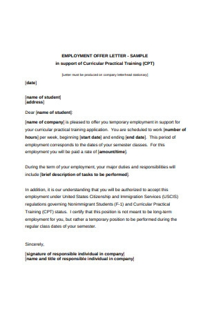 Basic Employment Offer Letter Format