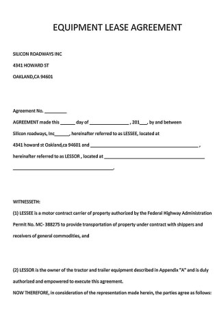 Basic Equipment Lease Agreement Example