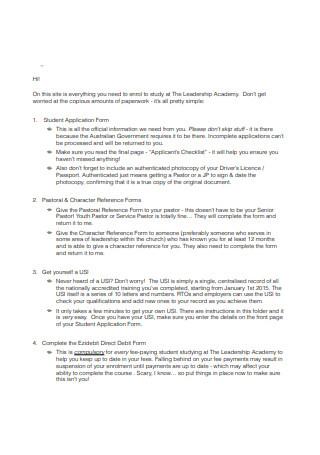 Basic Explanation Letter