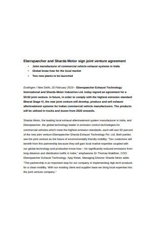 Basic Joint Venture Agreement