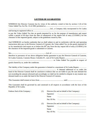 Basic Letter of Guarantee Format