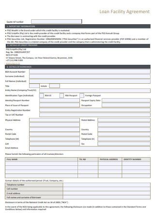 Basic Loan Facility Agreement