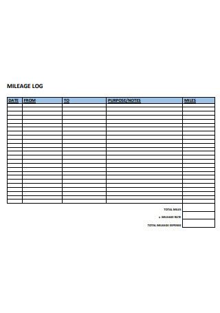 Basic Mileage Log