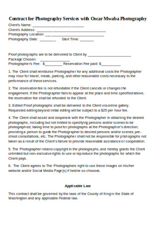 Basic Photography Service Contract