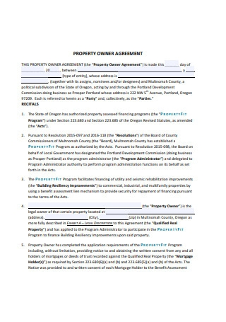 Basic Property Owner Agreement