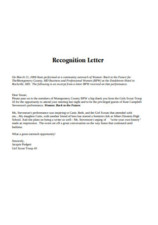 Basic Recognition Letter