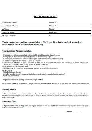 Basic Wedding Contract Template