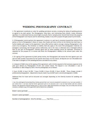 Basic Wedding Photography Contract Example