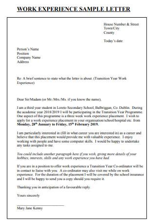 Basic Work Experiance Letter